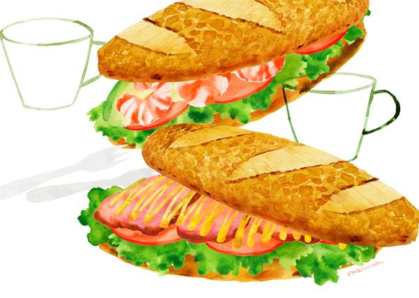 サンドイッチとファーストフードのイラスト(画像6点)